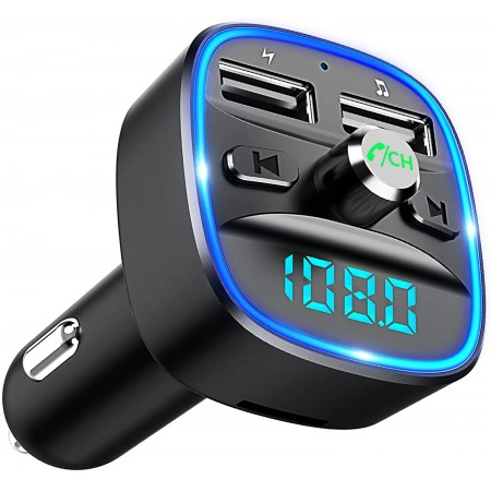 Cocoda Bluetooth FM Transmitter für Auto, Blaue Umgebende Leuchte Drahtloser Radio Kfz-Empfänger Adapter mit Freisprecheinrichtung, Dual USB Ladegerät